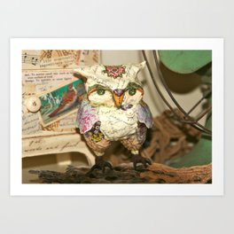Humphrey the Paper Mache Owl Art Print