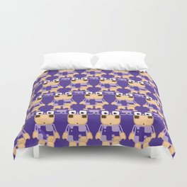 Super cute cartoon cow in purple - a moo-st have design for cow enthusiasts! Duvet Cover