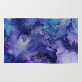 Abstract Watercolor Coastal, Indigo, Blue, Purple Rug