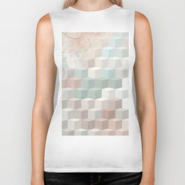 Distressed Cube Pattern - Nude, turquoise and seashell Biker Tank