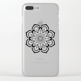 Black and White Flower Clear iPhone Case