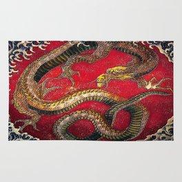 Embossed Hokusai Dragon Seal Very High Quality Rug
