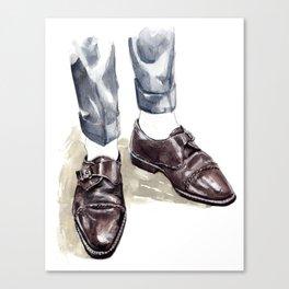 Vintage Monk Strap Fashion Illustration Canvas Print