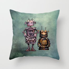 Two Kid's Robots Throw Pillow
