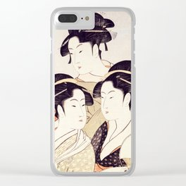 Three Beauties of the Present Day - Japanese Woodblock Print Clear iPhone Case