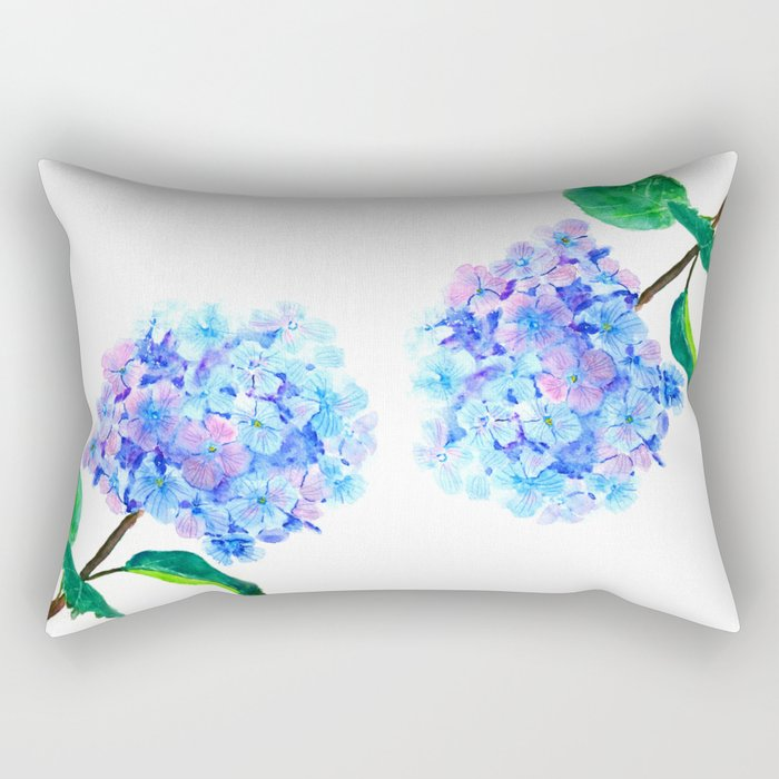 blue purple hydrangea Rectangular Pillow