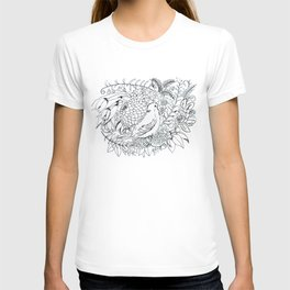 Sketched bird and flowers T-shirt