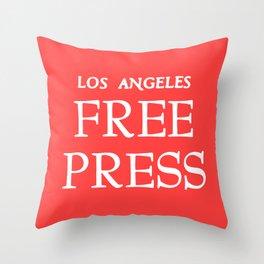 LA FreeP Logo - White on Red Throw Pillow