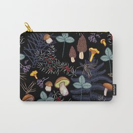 dark wild forest mushrooms Carry-All Pouch