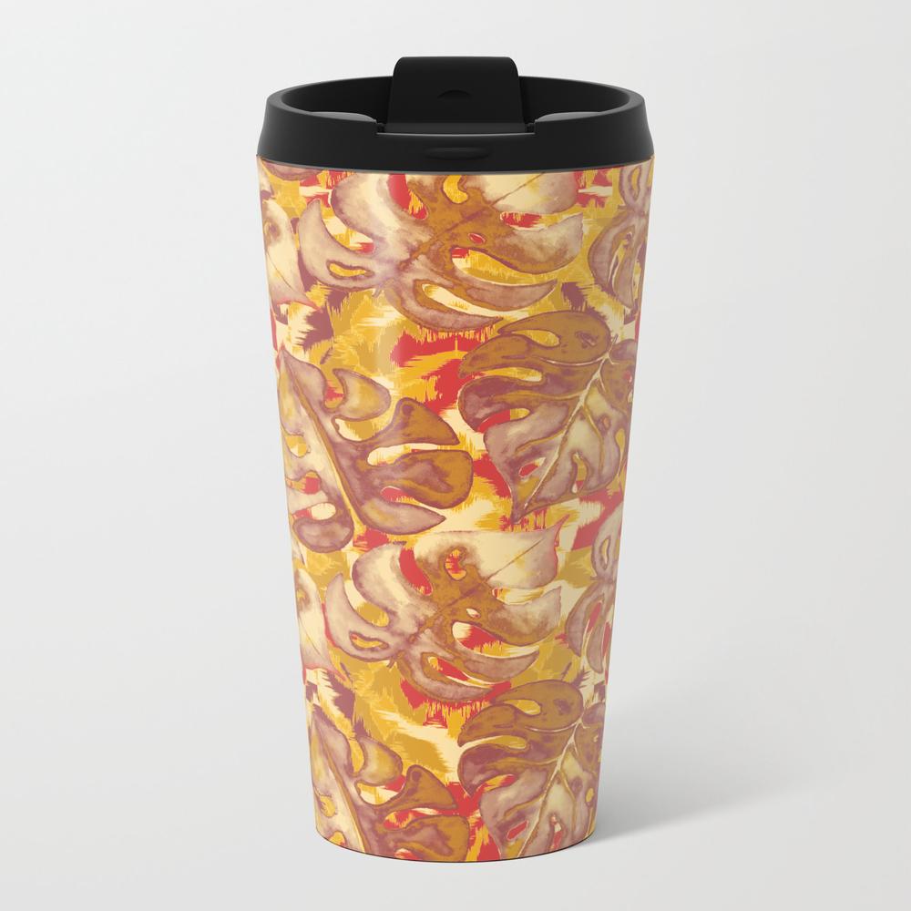 Tropical Leaf On Kaleidoscope Ikat Pattern Travel Mug TRM8849474