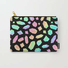 Rainbow Crystal Pattern on Black Carry-All Pouch
