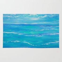 abstract ocean, teal blue, ocean painting, Caribbean Breeze Rug