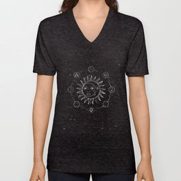 Moon, sun and elements Unisex V-Neck