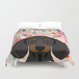 Dachshund florals cute pet gifts black and tan dachshund gifts for dog lover with weener dog Duvet Cover