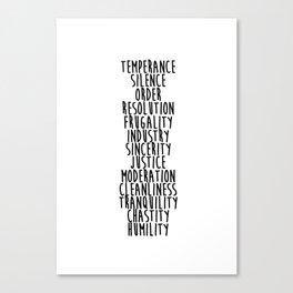 13 Virtues Canvas Print