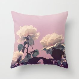 Vintage Spring Pearl White Roses Lavender Sky Throw Pillow