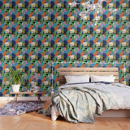 Bold Tropical Jungle Abstraction With Toucan Memphis Style Wallpaper