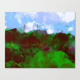 Nature landscape mountain vegetation blue sky clouds with birds flying illustration painting Canvas Print