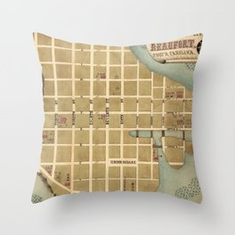 Vintage Map of Beaufort SC (1860s) Throw Pillow