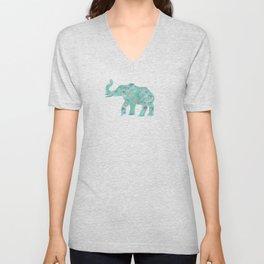 Elephants on Parade Watercolor Green Unisex V-Neck
