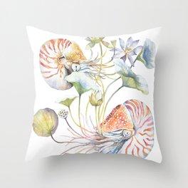 Nautilus and Lotus Surreal Watercolor Sea Animal Botanical Design Throw Pillow