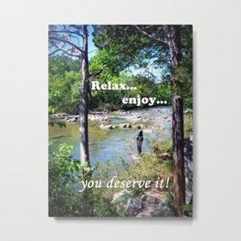 Gone Fishing Card Metal Print