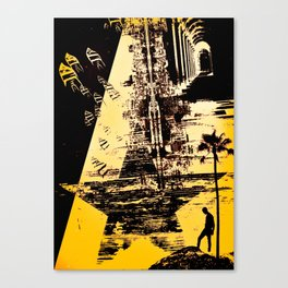 ADVENTURES - Abstract surreal yellow black collage Part 3/3 Canvas Print