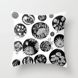 Flowers pattern ink art black and white Throw Pillow
