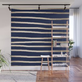 Drawn Stripes White Gold Sands on Nautical Navy Blue Wall Mural
