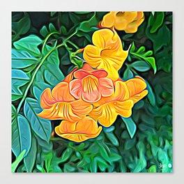 Orange Flowers of Flowing Circuitry Canvas Print