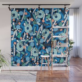 CIRCLES IN MOTION - GREEN/ BLUE brush stroke Wall Mural