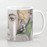jennifer lawrence Mugs featuring Jennifer Lawrence  by Giulia Colombo