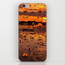 Sunset landscape with round random shapes iPhone Skin