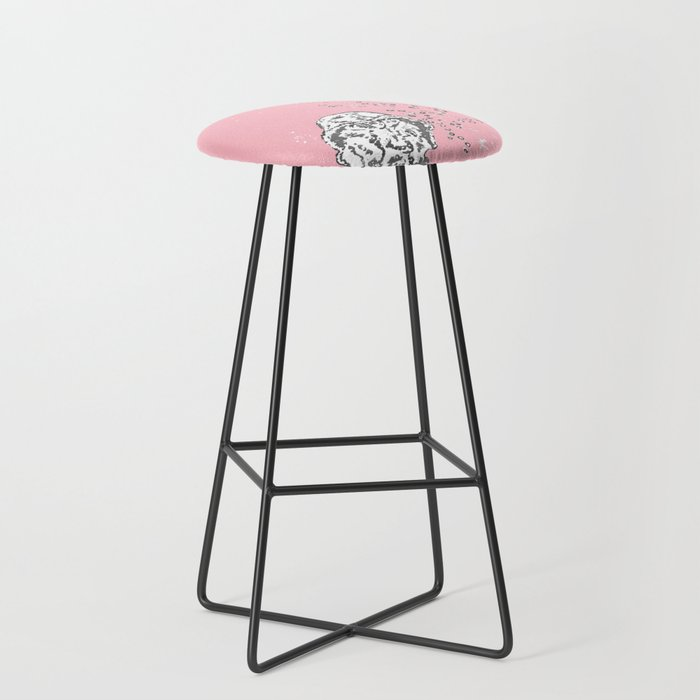 Two Tailed Duck And Jellyfish Baby Pink Deep Bar Stool By