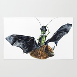 Rider in the Night.  Fantasy watercolor of a bat in the night with a cricket as his rider. Animal Rug