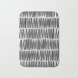 Inspired by Nature | Black & White Organic Line Texture Elegant Minimal Simple Bath Mat