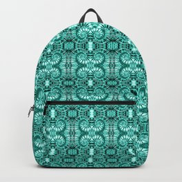 Teal & White Curly Spirals Backpack