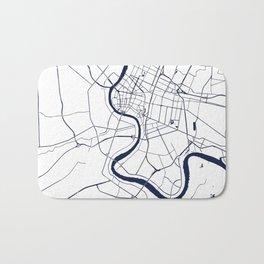 Bangkok Thailand Minimal Street Map - Navy Blue and White Bath Mat