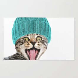 Cat with hat illustration Rug