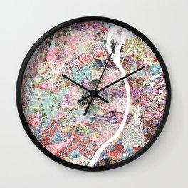 Saint Louis map flowers Wall Clock