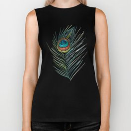 Peacock Tail Feather – Watercolor Biker Tank