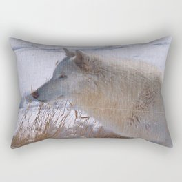 """Lone White Wolf"" Rectangular Pillow"