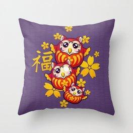 Owl Daruma Throw Pillow