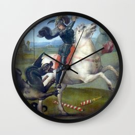 "Raffaello Sanzio da Urbino ""Saint George and the Dragon"", 1503 - 1505 Wall Clock"