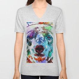 Polar Bear Watercolor Grunge Unisex V-Neck
