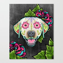 Labrador Retriever - Yellow Lab - Day of the Dead Sugar Skull Dog Canvas Print