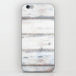 Old Painted Planks In Fog, Wood Texture Decor iPhone Skin