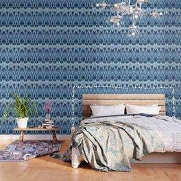 Blue Satin Shibori Argyle Wallpaper