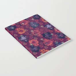 Lotus flower - fire on mulberry woodblock print style pattern Notebook