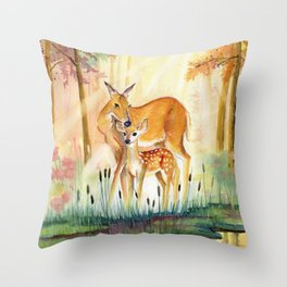 Mom and Little Deer Throw Pillow